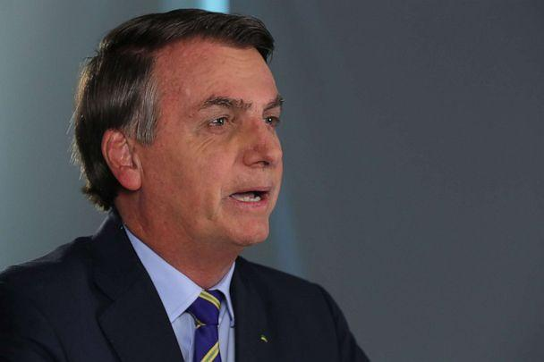 PHOTO: Handout picture released by the Brazilian Presidency press office showing Brazilian President Jair Bolsonaro speaking during a broadcast statement on the coronavirus, COVID-19, pandemic, in Brasilia, on March 31, 2020. (Isac Nobrega/BRAZILIAN PRESIDENCY/AFP via Getty Images)