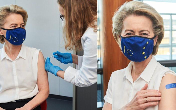 Ursula von der Leyen received her vaccine a day after the EU passed 100m jabs