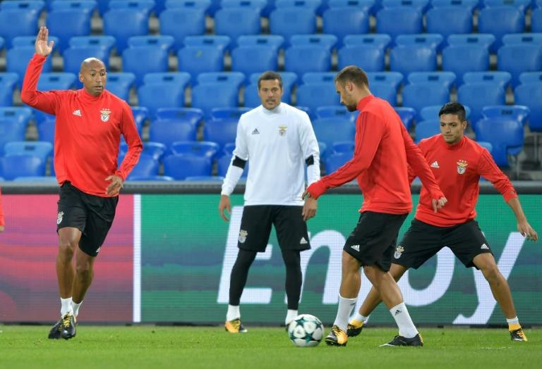 Benfica's players take part in a training on the eve of their UEFA Champions League Group A match against Basel, on September 26, 2017, at St. Jakob-Park stadium in Basel