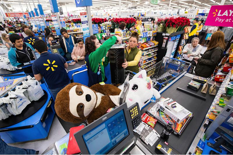 IMAGE DISTRIBUTED FOR WALMART - Customers stock up on TVs, electronics, toys and home goods at Walmart's Black Friday store event on Thursday, Nov. 22, 2018 in Bentonville, Ark. (Gunnar Rathbun/AP Images for Walmart)