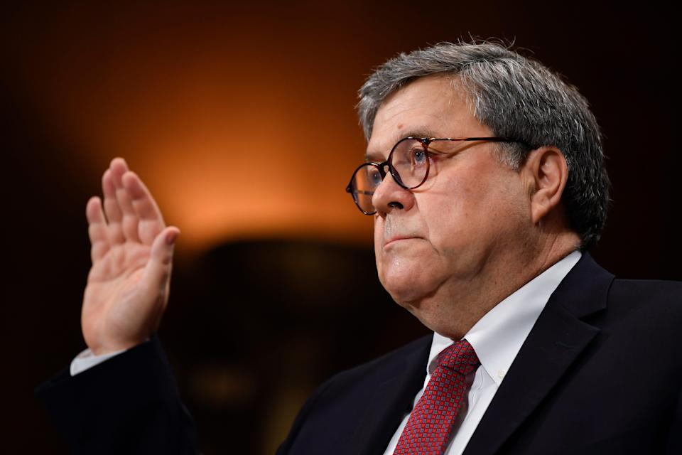 Attorney General William Barr is sworn in before giving his opening statement before the House Judiciary Committee hearing about special counsel Robert Mueller's report and his handling of the investigation.