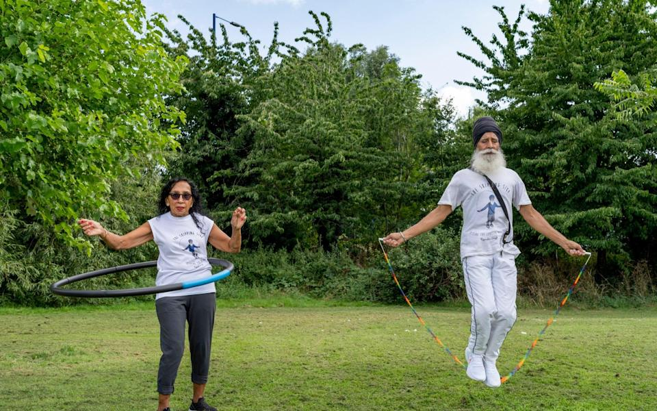 Pritpal with her husband Rajinder, who are both determined to keep their fitness levels up - Andrew Crowley for The Telegraph