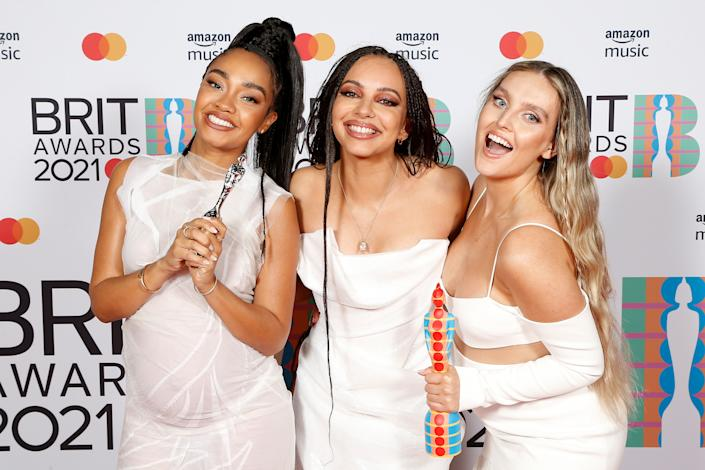 LONDON, ENGLAND - MAY 11: Leigh-Anne Pinnock, Jade Thirlwall and Perrie Edwards of Little Mix pose with their British Group award in the media room during The BRIT Awards 2021 at The O2 Arena on May 11, 2021 in London, England. (Photo by JMEnternational/JMEnternational for BRIT Awards/Getty Images)