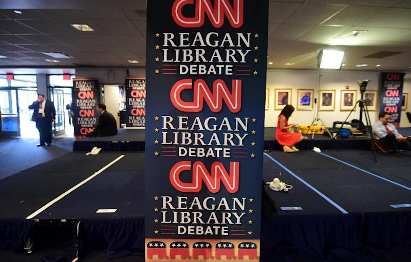 Journalists wait in the Spin Room at the Ronald Reagan Presidential Library in Simi Valley, California on September 16, 2015 ahead of a Republican Party Presidential Debate (AFP Photo/Frederic J. Brown)