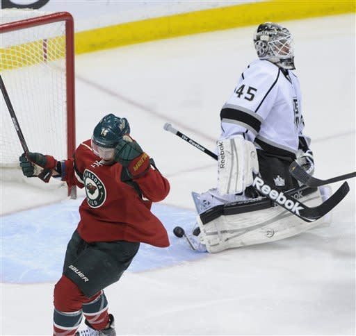 Minnesota Wild's Darroll Powe, left, celebrates his goal off Los Angeles Kings' Jonathan Bernier, right, in the first period of an NHL hockey game on Saturday, March 31, 2012, in St. Paul, Minn. (AP Photo/ Jim Mone)