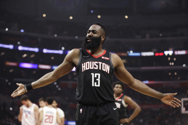 Houston Rockets' James Harden argues a call during the first half of the team's NBA basketball game against the Los Angeles Clippers on Wednesday, April 3, 2019, in Los Angeles. (AP Photo/Marcio Jose Sanchez)
