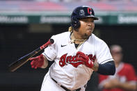 Cleveland Indians' Jose Ramirez grounds out in the sixth inning of the team's baseball game against the Tampa Bay Rays, Saturday, July 24, 2021, in Cleveland. Bradley Zimmer scored. (AP Photo/Tony Dejak)