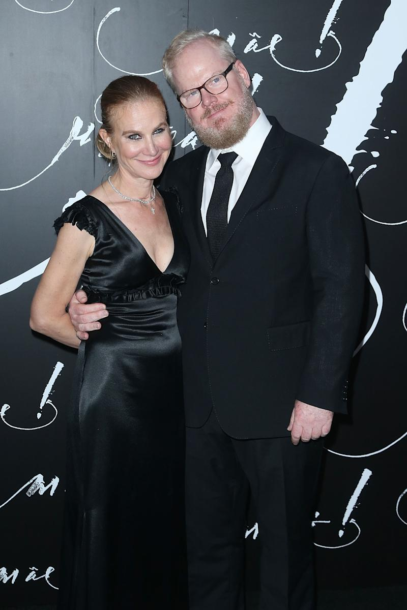 Jim Gaffigan and wife Jeannie at mother! premiere in NYC