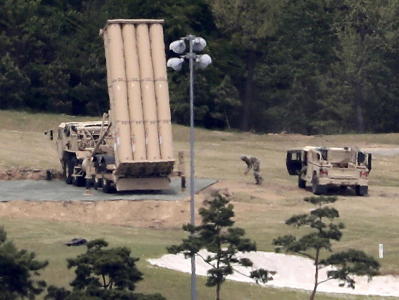FILE - In this May 2, 2017, file photo, a U.S. missile defense system called Terminal High Altitude Area Defense, or THAAD, is installed on a golf course in Seongju, South Korea. (Kim Jun-beom/Yonhap via AP, File)