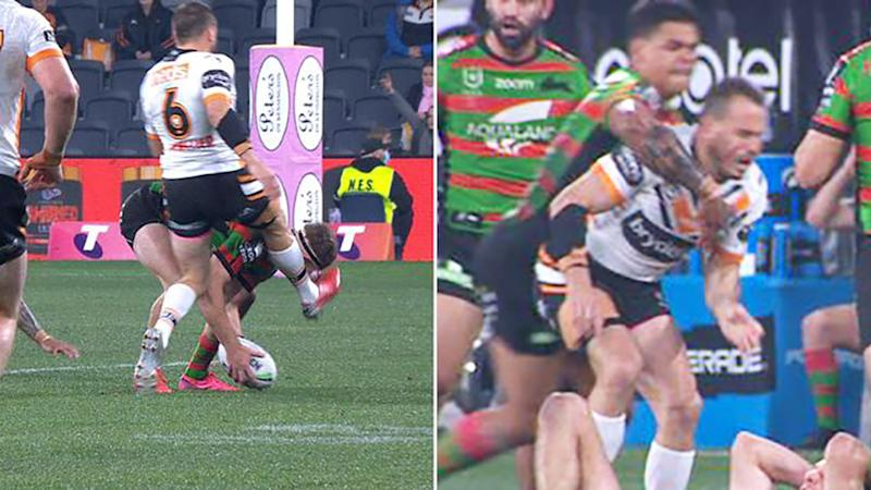 Latrell Mitchell, pictured here clobbering Josh Reynolds after he kicked Campbell Graham in the head.