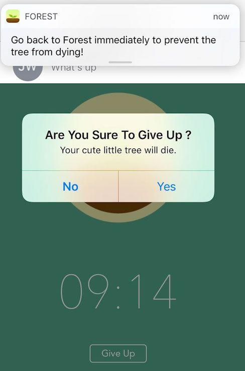 Screenshots of Forest push notification and 'Give Up' button