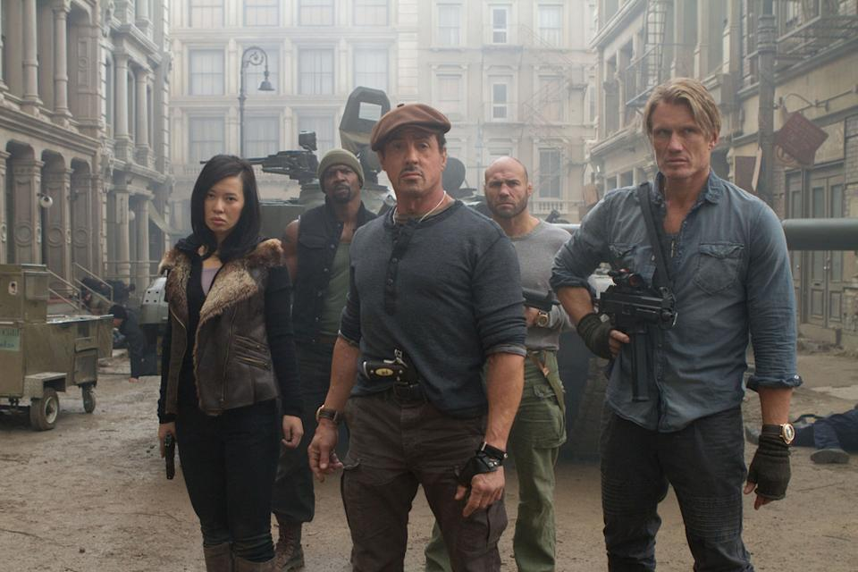 """Yu Nan, Terry Crews, Sylvester Stallone, Randy Couture and Dolph Ludgren in Lionsgate's """"The Expendables 2"""" - 2012"""