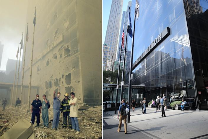 <p>Medical and emergency workers in front of the Millenium Hilton, look toward where the World Trade Center towers used to stand after the terrorist attacks on the twin towers on Sept. 11, 2001, left; commuters pass by the Millenium Hilton on Aug. 22, 2016. (Photo: Mark Lennihan/AP; Gordon Donovan/Yahoo News) </p>
