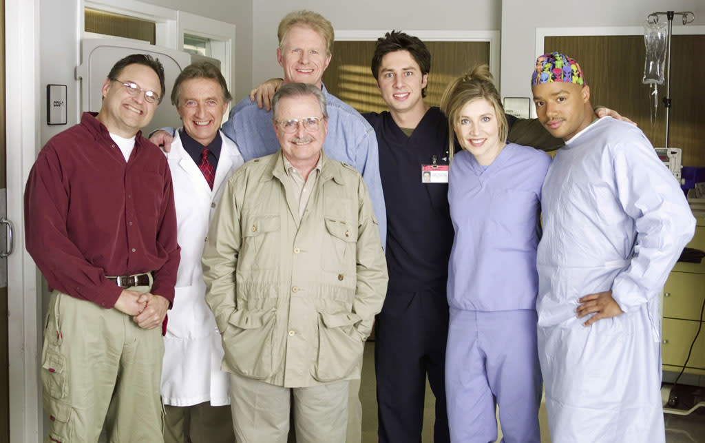 "20. As part of a big NBC 75th anniversary celebration in 2002, four actors from ""St. Elsewhere"" <a href=""http://www.popartsplace.com/Pages/Television/NBC75Crossovers.htm"">reunited on ""Scrubs""</a> during its first season on the air. Ed Begley Jr., William Daniels, Stephen Furst, and Eric Laneuville played doctors who were sent to Sacred Heart Hospital after falling ill at a medical convention. Other series to cross over during the weeklong event were ""Frasier"" with ""Cheers,"" ""Hill Street Blues"" with ""Third Watch,"" and ""Quincy"" with ""Crossing Jordan."""