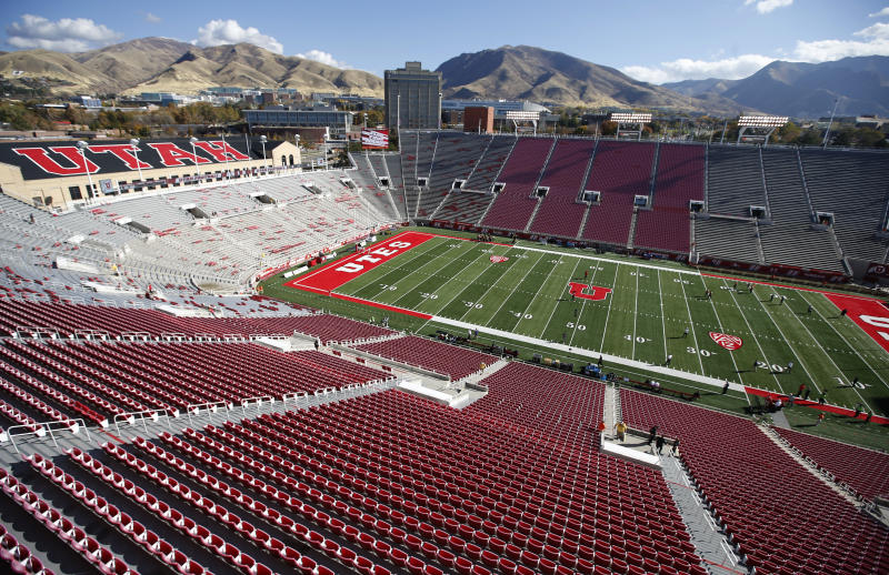 SALT LAKE CITY, UT - OCTOBER 29: A general view of Rice-Eccles Stadium before the Utah Utes and Washington Huskies football game on October 29, 2016 in Salt Lake City, Utah. (Photo by George Frey/Getty Images)