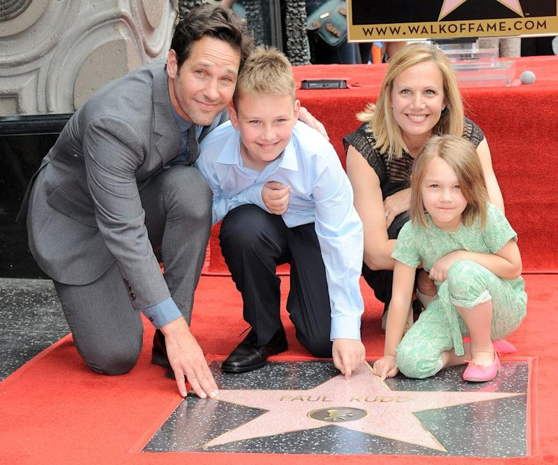 Paul Rudd and wife Julie Yaeger with children Jack and Darby in 2015   Albert L. Ortega/Getty