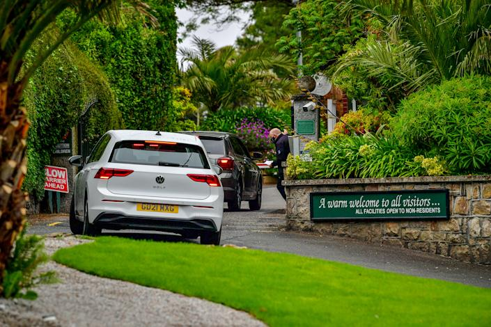 Security check vehicles as they enter Tregenna castle resort, in Carbis Bay, ahead of the G7 summit in Cornwall. Picture date: Saturday June 5, 2021. (Photo by Ben Birchall/PA Images via Getty Images)