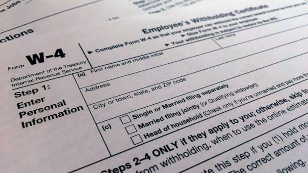 PHOTO: A W-4 form is viewed in New York, Feb. 5, 2020. (Patrick Sison/AP, FILE)