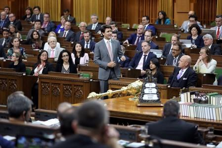 Canada's PM Trudeau speaks in the House of Commons on Parliament Hill in Ottawa
