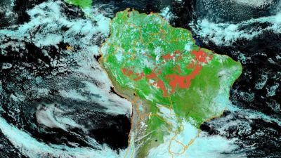 Aerial images of fires in Amazon rainforest with the red dots representing fire hotspots in June 2020: INPE/Brazilian National Institute for Space Research