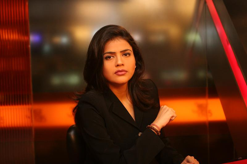 INDIA - OCTOBER 18: Sweta Singh, Anchor, Aaj Tak, New Delhi. (Photo by Kalyan Chakravorty/The The India Today Group via Getty Images)