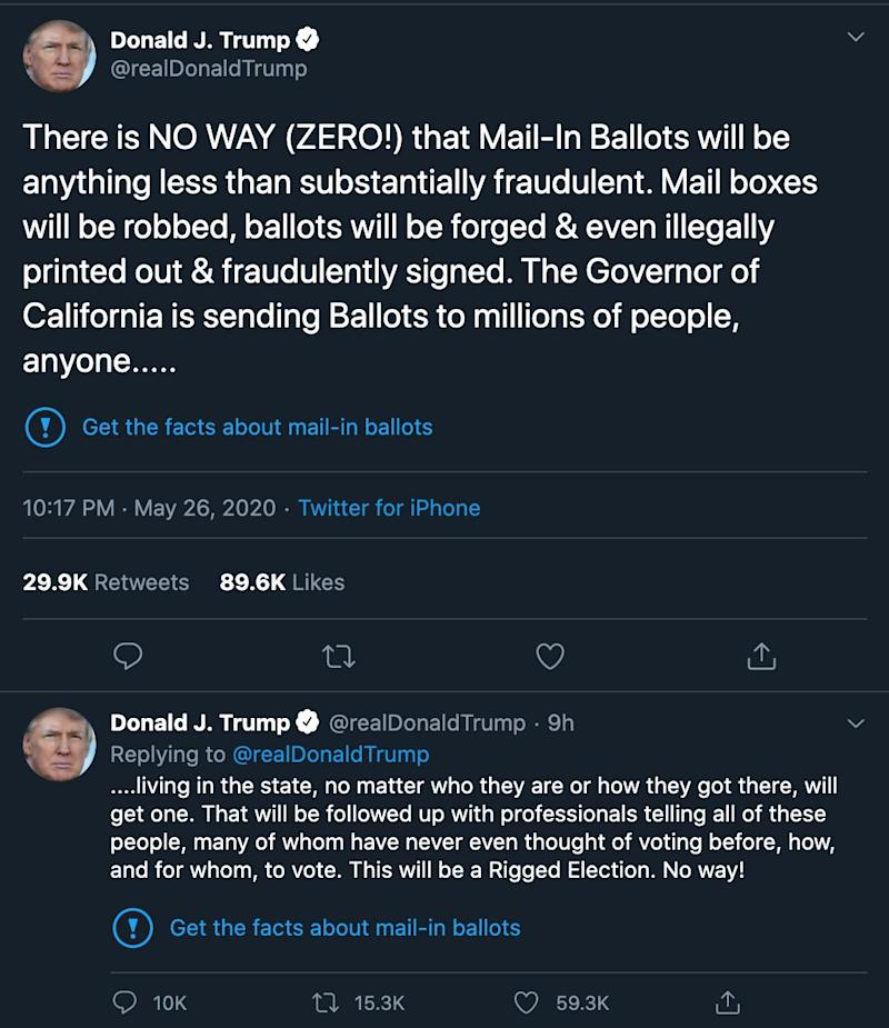 Twitter applied fact-check labels to two of Trump's tweets about mail-in ballots. (Photo: Twitter)