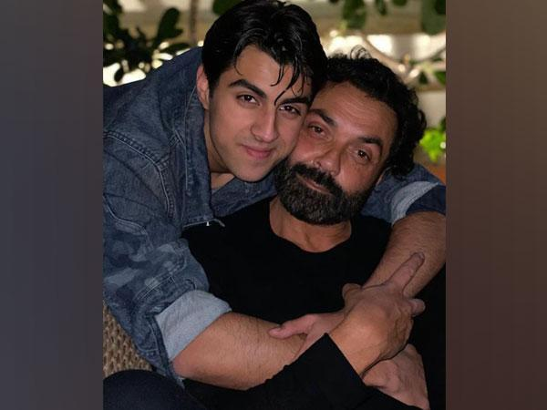 Bobby Deol with his son Aryaman (Image Source: Instagram)