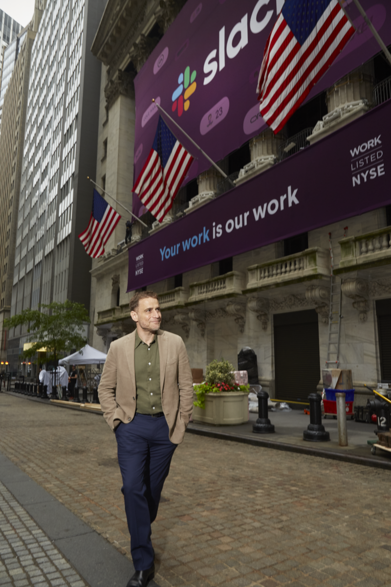 Slack Technologies CEO Stewart Butterfield standing outside the New York Stock Exchange on June 20th.