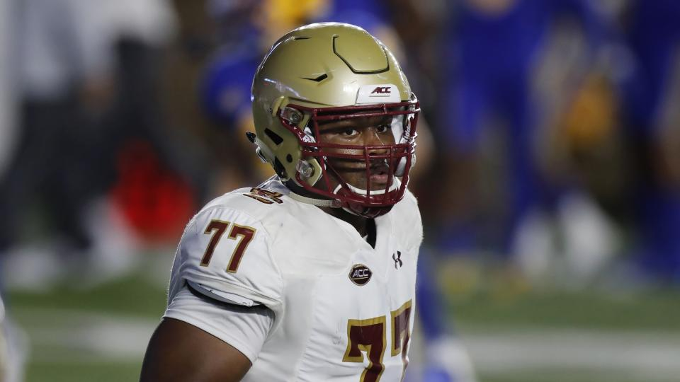 Boston College OT Zion Johnson is the Eagles' best senior NFL prospect. (AP Photo/Michael Dwyer)