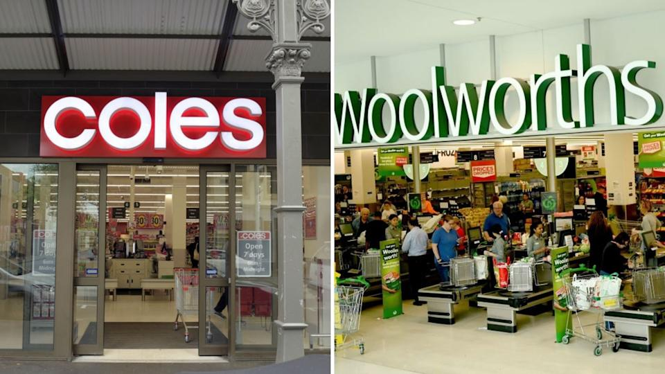 Exteriors of Coles, Woolworths supermarkets.