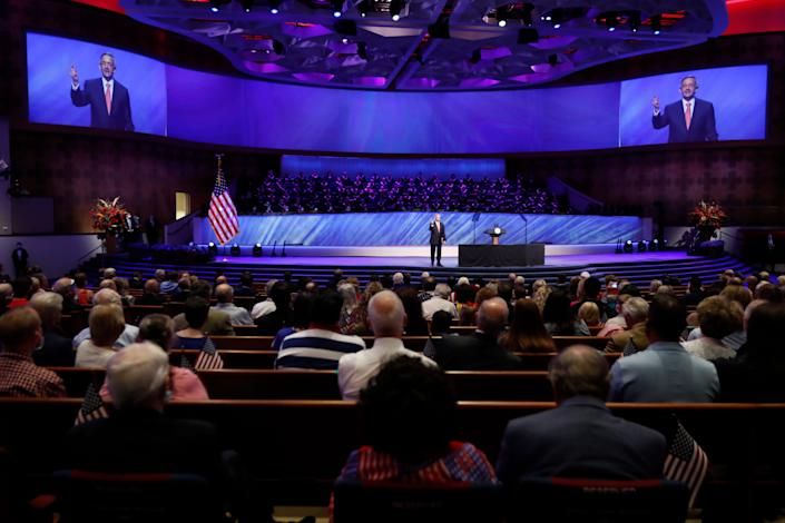 Pastor Robert Jeffress addresses attendees before Vice President Mike Pence was to speak at the First Baptist Dallas church on June 28, an event that drew about 2,500.
