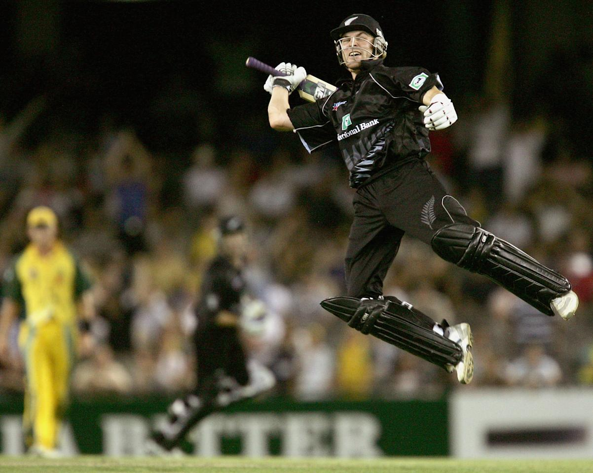 MELBOURNE, AUSTRALIA - DECEMBER 5:  Brendon McCullum of New Zealand celebrates hitting the winning runs during game one of the Chappell-Hadlee Trophy between Australia and New Zealand played at the Telstra Dome on December 5, 2004 in Melbourne, Australia. (Photo by Hamish Blair/Getty Images)