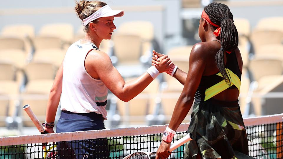 Barbora Krejcikova and Coco Gauff, pictured here after their French Open quarterfinals.