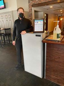 Owner Jim Martel standing by his new AirBox Apex unit at Schenectady, NY location at the Town of Colonie Golf Course.