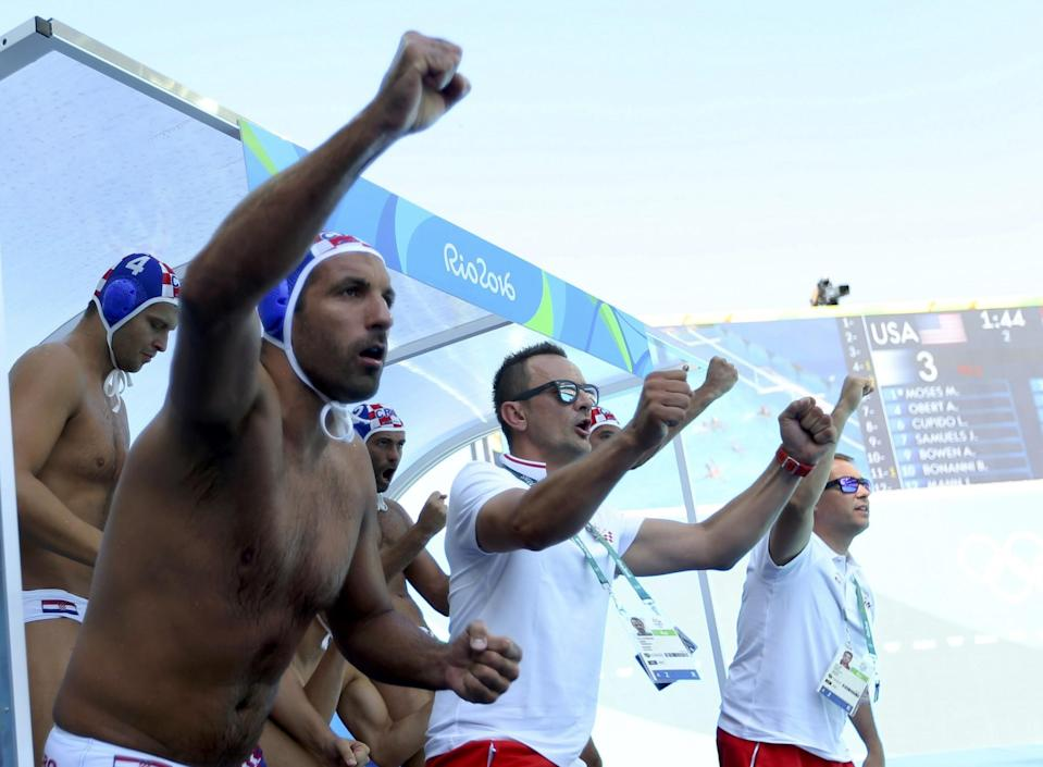 <p>Croatian officials and players react to a goal during the team's 7-5 victory over the U.S. (Reuters) </p>