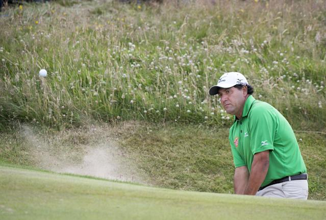 Argentinean Ricardo Gonzalez plays a shot from the greenside bunker on the 8th hole during day three of the Scottish Open at Royal Aberdeen, Aberdeen, Scotland, Saturday July 12, 2014. (AP Photo/PA, Kenny Smith)