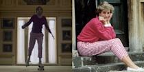 <p>Princess Diana was revered for her accessible, down-to-earth style. The Crown couldn't resist teasing fans with actress Emma Corrin wearing one of her most iconic looks: Pink gingham pants and a hot pink sweater.</p>