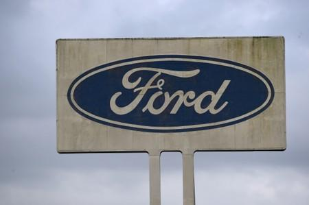 A view of the Ford sign at the engine plant at Bridgend