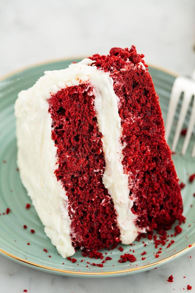 "<p>The official cake of love (and Southern hospitality).</p><p>Get the recipe from <a href=""https://www.delish.com/cooking/recipe-ideas/recipes/a58093/best-red-velvet-cake-recipe/"">Delish</a>.</p>"