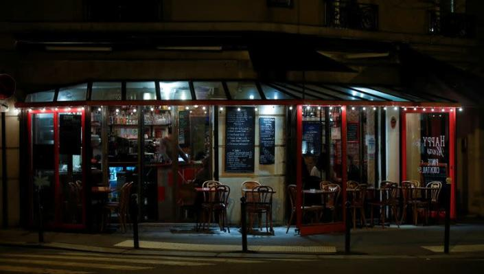 Outdoor restaurant is pictured as France's Prime Minister announced to close most all non-indispensable locations, notably cafes, restaurants, cinemas, nightclubs and shops from midnight on Saturday, in Paris