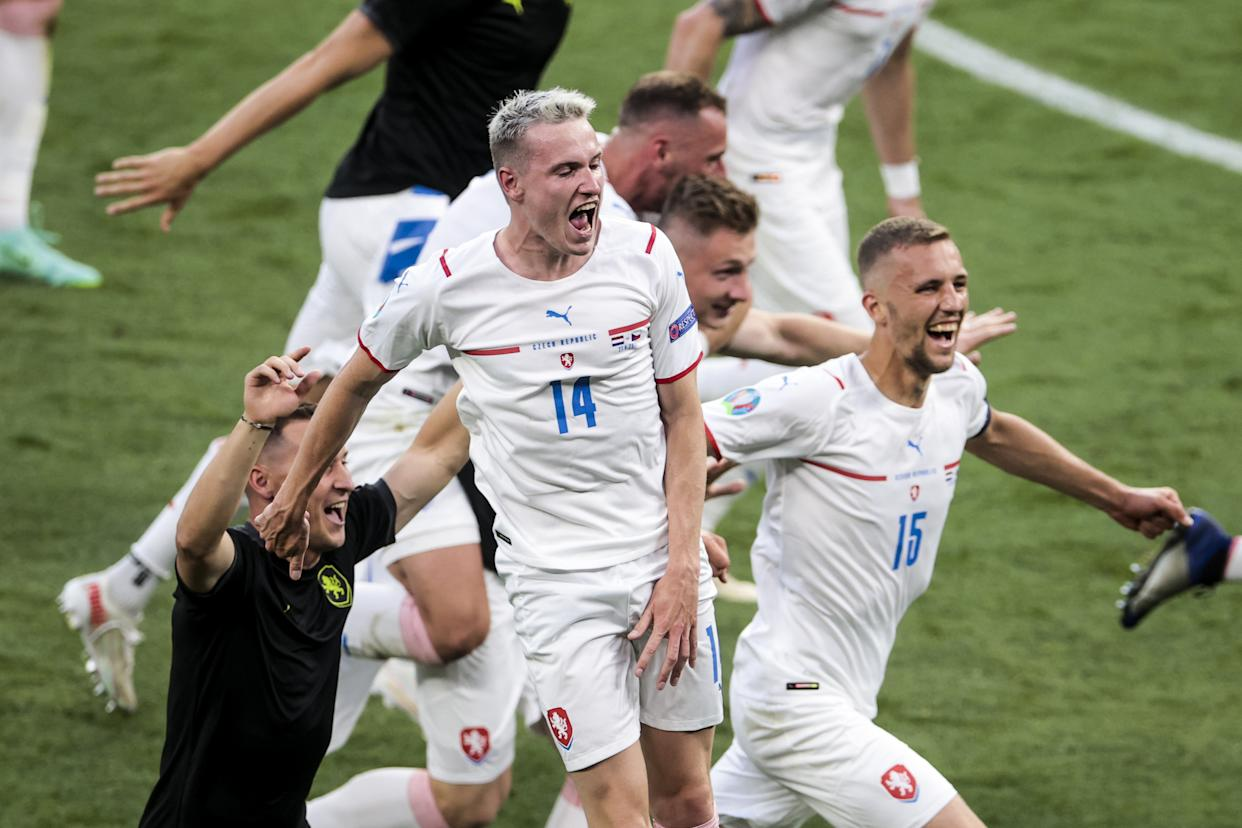 BUDAPEST, HUNGARY - JUNE 27: Players of Czech Republic celebrate their victory at the end of the EURO 2020 round of 16 football match between the Netherlands and the Czech Republic at Ferenc Puskas Arena in Budapest, Hungary on June 27, 2021. (Photo by Dmitriy Golubovich/Anadolu Agency via Getty Images)