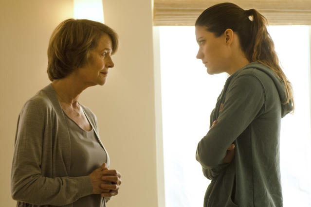 "Charlotte Rampling as Dr. Vogel and Jennifer Carpenter as Debra Morgan in the ""Dexter"" Season 8 episode, ""Scar Tissue."""