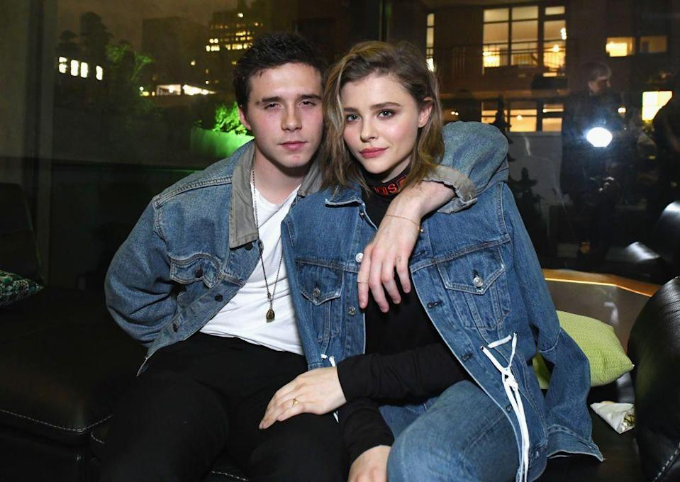 """<p>The pair reportedly<a href=""""https://www.seventeen.com/celebrity/celebrity-couples/a41546/times-chloe-grace-moretz-and-brooklyn-beckham-were-so-cute-you-died/"""" rel=""""nofollow noopener"""" target=""""_blank"""" data-ylk=""""slk:met at Paris Fashion Week"""" class=""""link rapid-noclick-resp""""> met at Paris Fashion Week </a>in 2014, and by May 2016, they were confirmed to be together. By September of that year <a href=""""https://pagesix.com/2016/08/31/chloe-grace-moretz-and-brooklyn-beckham-call-it-quits/"""" rel=""""nofollow noopener"""" target=""""_blank"""" data-ylk=""""slk:they called things off"""" class=""""link rapid-noclick-resp"""">they called things off</a>. A year later, they got back together. By April 2018, they split again; Moretz <a href=""""https://www.elitedaily.com/p/chloe-grace-moretzs-c-ring-may-be-a-subtle-diss-to-brooklyn-beckham-8842020"""" rel=""""nofollow noopener"""" target=""""_blank"""" data-ylk=""""slk:replaced"""" class=""""link rapid-noclick-resp"""">replaced </a>the """"B"""" ring she used to wear (reportedly for """"Brooklyn"""") with a """"C"""" ring""""—for her own name. </p>"""