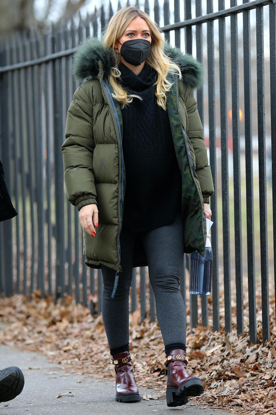 <p>Hilary Duff was out and about in New York City, wearing a face mask and bundling up in a puffer jacket.</p>