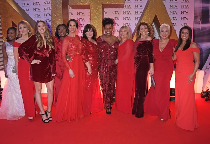 LONDON, ENGLAND - JANUARY 28: (L to R) Kelle Bryan, Kaye Adams, Stacey Solomon, Judi Love, Andrea McLean, Coleen Nolan, Brenda Edwards, Linda Robson, Nadia Sawalha, Denise Welch and Saira Khan of Loose Women attend the National Television Awards 2020 at The O2 Arena on January 28, 2020 in London, England. (Photo by David M. Benett/Dave Benett/Getty Images)
