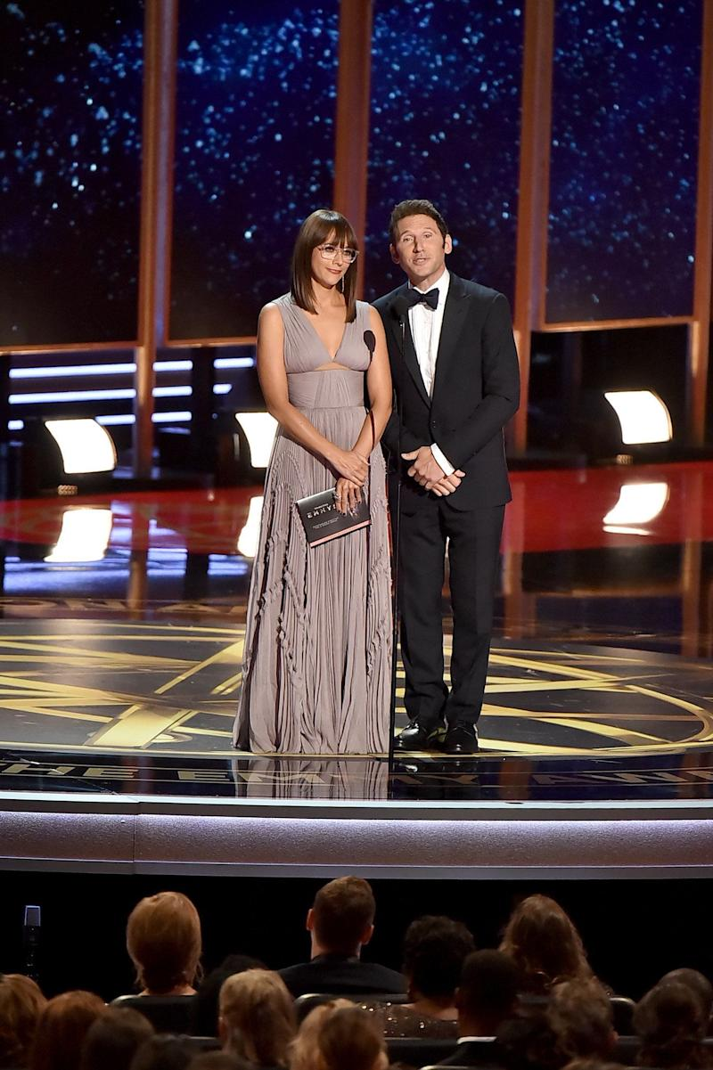 Actors Rashida Jones and Mark Feuerstein speak onstage during the 69th Annual Primetime Emmy Awards at Microsoft Theater on Sept. 17, 2017 in Los Angeles, California.