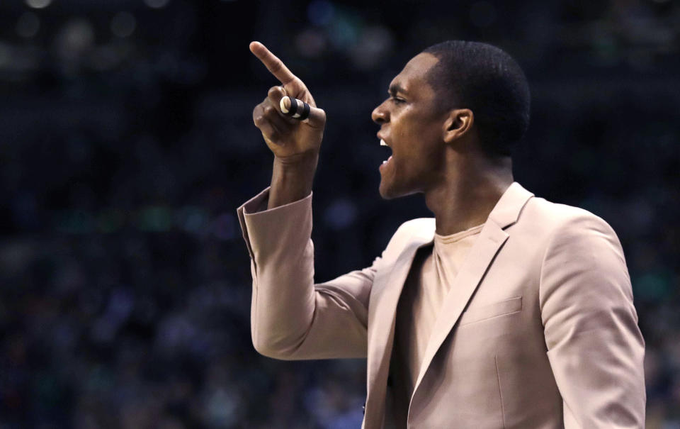 Rajon Rondo points the way, for better or worse. (AP)