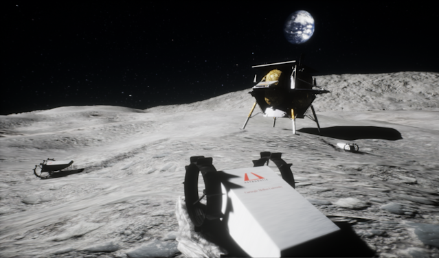 An artist's illustration of Astrobotic's CubeRover (foreground) and Peregrine lunar lander on the surface of the moon.