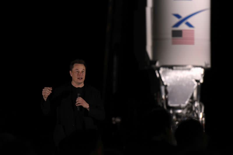 FILE PHOTO: SpaceX's Elon Musk gives an update on the company's Mars rocket Starship in Boca Chica