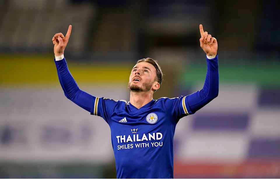 James Maddison celebrates after scoring for Leicester (PA)